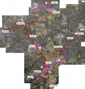 Mögliches Seilbahnnetz für Bochum (rote Linien)