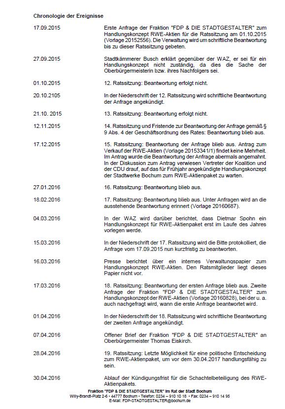 Chronologie der RWE-Ereignisse